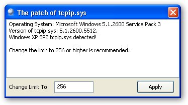 Windows XP SP3 TCP/IP Patcher - лечит лимит соединений в windows xp sp3, ув